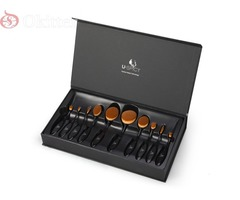 10 PIECE BLACK AND ROSE GOLD OVAL BRUSH SET